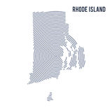 Vector abstract hatched map of State of Rhode Island with spiral lines isolated on a white background. Royalty Free Stock Image