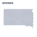 Vector abstract hatched map of State of South Dakota with spiral lines isolated on a white background. Royalty Free Stock Images