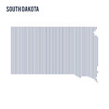Vector abstract hatched map of State of South Dakota with vertical lines isolated on a white background. Travel vector illustration royalty free illustration
