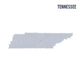 Vector abstract hatched map of State of Tennessee with spiral lines isolated on a white background. Stock Image