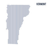 Vector abstract hatched map of State of Vermont with vertical lines isolated on a white background. Travel vector illustration stock illustration