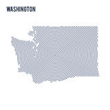 Vector abstract hatched map of State of Washington with spiral lines isolated on a white background. Royalty Free Stock Photo