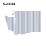 Vector abstract hatched map of State of Washington with vertical lines isolated on a white background. Travel vector illustration Royalty Free Stock Images
