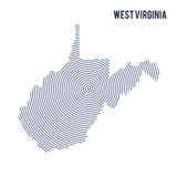 Vector abstract hatched map of State of West Virginia with spiral lines isolated on a white background. Stock Images