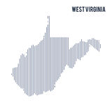 Vector abstract hatched map of State of West Virginia with vertical lines isolated on a white background. Travel vector illustration Stock Image