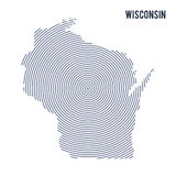 Vector abstract hatched map of State of Wisconsin with spiral lines isolated on a white background. Royalty Free Stock Photography