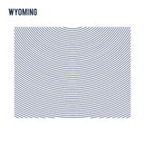 Vector abstract hatched map of of State of Wyoming with curve lines isolated on a white background. Travel vector illustration royalty free illustration