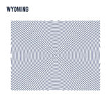 Vector abstract hatched map of State of Wyoming with spiral lines isolated on a white background. Royalty Free Stock Image