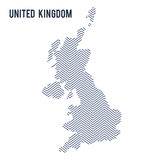 Vector abstract hatched map of United Kingdom isolated on a white background. Travel illustration royalty free illustration