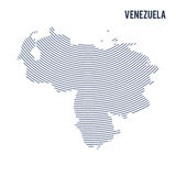 Vector abstract hatched map of Venezuela with curve lines isolated on a white background. Travel vector illustration stock illustration