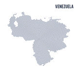 Vector abstract hatched map of Venezuela with spiral lines isolated on a white background. Royalty Free Stock Image