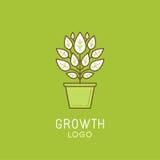 Vector abstract het ontwerpelement van het de groeiembleem in in lineaire styl Royalty-vrije Stock Foto's