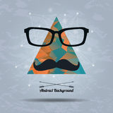 Vector abstract hipster background with triangle, mustaches. And glasses Stock Image