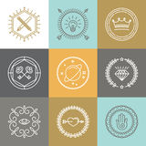 Vector abstract hipster signs and logo design elements. In linear style Stock Images