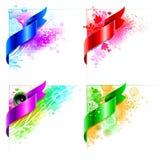 Vector abstract hoekontwerp met bloemenelementen Stock Fotografie