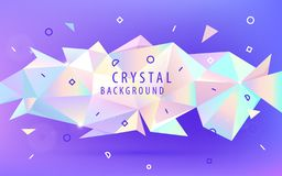 Vector abstract holographic 3d shape, facet triangle low poly banner, background. Shiny trendy colors horizontal. Orientation template stock illustration