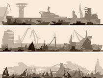 Horizontal banner of big harbor with many different ships. Royalty Free Stock Images