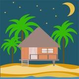 Vector abstract huis van een houten bungalow Stock Afbeeldingen