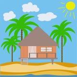 Vector abstract huis van een houten bungalow Royalty-vrije Stock Afbeeldingen
