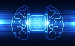 Vector Abstract human brain futuristic circuit board, Illustration high digital technology blue color. Innovation Stock Illustration