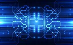Vector Abstract human brain futuristic circuit board, Illustration high digital technology blue color. Innovation for next generation internet network vector illustration