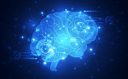 Free Vector Abstract Human Brain On Technology Background Represent Artificial Intelligence Concept, Illustration Royalty Free Stock Photography - 93197827