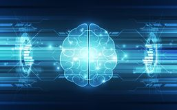 Vector abstract human brain on technology background  Stock Photo