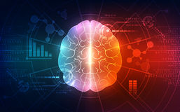 Vector abstract human brain on technology background represent artificial intelligence concept, illustration Stock Image