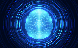 Vector abstract human brain on technology background represent artificial intelligence concept, illustration Stock Photo