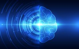 Vector abstract human brain on technology background represent artificial intelligence  Stock Photo