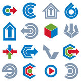 Vector abstract icons set, simple corporate graphic design eleme Royalty Free Stock Photo