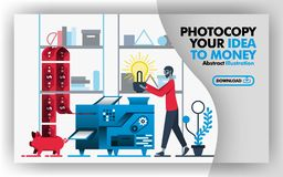 Vector abstract illustration .Banners and website in red, gray, blue with title copy your idea to money. Worker put light bulb int. O machine and make money that stock illustration