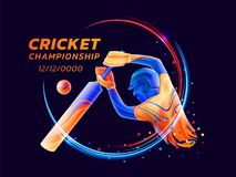 Vector abstract illustration of batsman playing cricket from colored liquid splashes and brush strokes with neon lines. And colored dots. Championship and vector illustration
