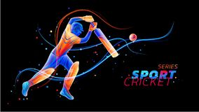 Vector abstract illustration of batsman playing cricket from colored liquid splashes and brush strokes with neon lines royalty free illustration