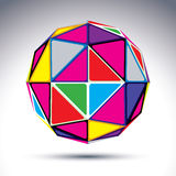 Vector abstract illustration, 3d disco ball  on white ba. Ckground. Colorful sphere with bright rectangular triangles, kaleidoscope effect Royalty Free Stock Image