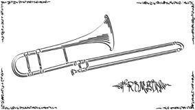 Vector abstract illustration drawing of trombone. Vector abstract graphic arts sketch of drawing trombone wind musical instrument royalty free illustration