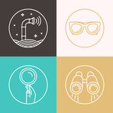 Vector abstract illustration in flat style - periscope. Binoculars, glasses, magnifier - surveillance and control concept - social network broadcasting royalty free illustration