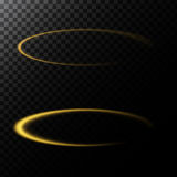Vector abstract illustration of a light effect in the shape of a golden circle. A black translucent background with glowing trace in the shape of a ring vector illustration