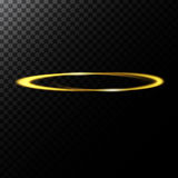 Vector abstract illustration of a light effect in the shape of a golden circle. A black translucent background with glowing trace in the shape of a ring stock illustration