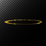 Vector abstract illustration of a light effect in the shape of a golden circle. A black translucent background with sparks and glowing trace in the shape of a stock illustration