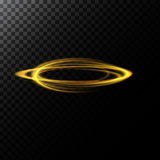 Vector abstract illustration of a light effect in the shape of a golden circles. A black translucent background with glowing traces in the form of rings vector illustration