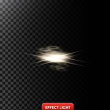 Vector abstract illustration of a light effect in the shape of a golden circles and lines. On transparent background stock illustration
