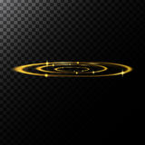 Vector abstract illustration of a light effects in the shape of a golden circles. A black translucent background with sparks and glowing traces in the shape of Stock Image