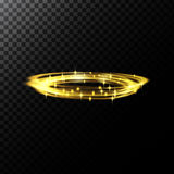 Vector abstract illustration of a light effects in the shape of a golden circles. A black translucent background with sparks and glowing traces in the shape of Royalty Free Stock Photos