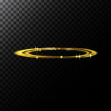 Vector abstract illustration of a light effects in the shape of a golden circles. A black translucent background with sparks and glowing traces in the shape of Stock Photos