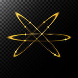 Vector abstract illustration of a light effects in the shape of a golden circles. A black translucent background with sparks and glowing traces in the shape of Royalty Free Stock Images