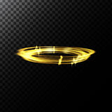 Vector abstract illustration of a light effects in the shape of a golden circles. A black translucent background with sparks and glowing traces in the shape of Royalty Free Stock Image