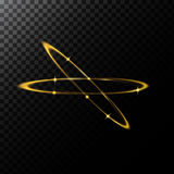 Vector abstract illustration of a light effects in the shape of a golden circles. A black translucent background with sparks and glowing traces in the shape of Royalty Free Stock Photography