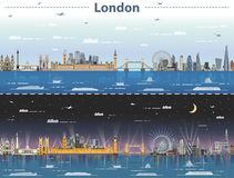 Vector illustration of London city skyline at day and night Royalty Free Stock Photos