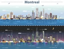 Vector abstract illustration of Montreal at day and night Vector Illustration
